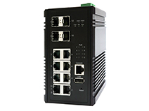 Industrial 8-port 10/100/1000M with 4 SFP+ Uplink Slots PoE+ Switch